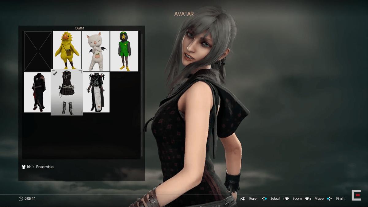 イリスの衣装を着たアラネア顔のキャラクター