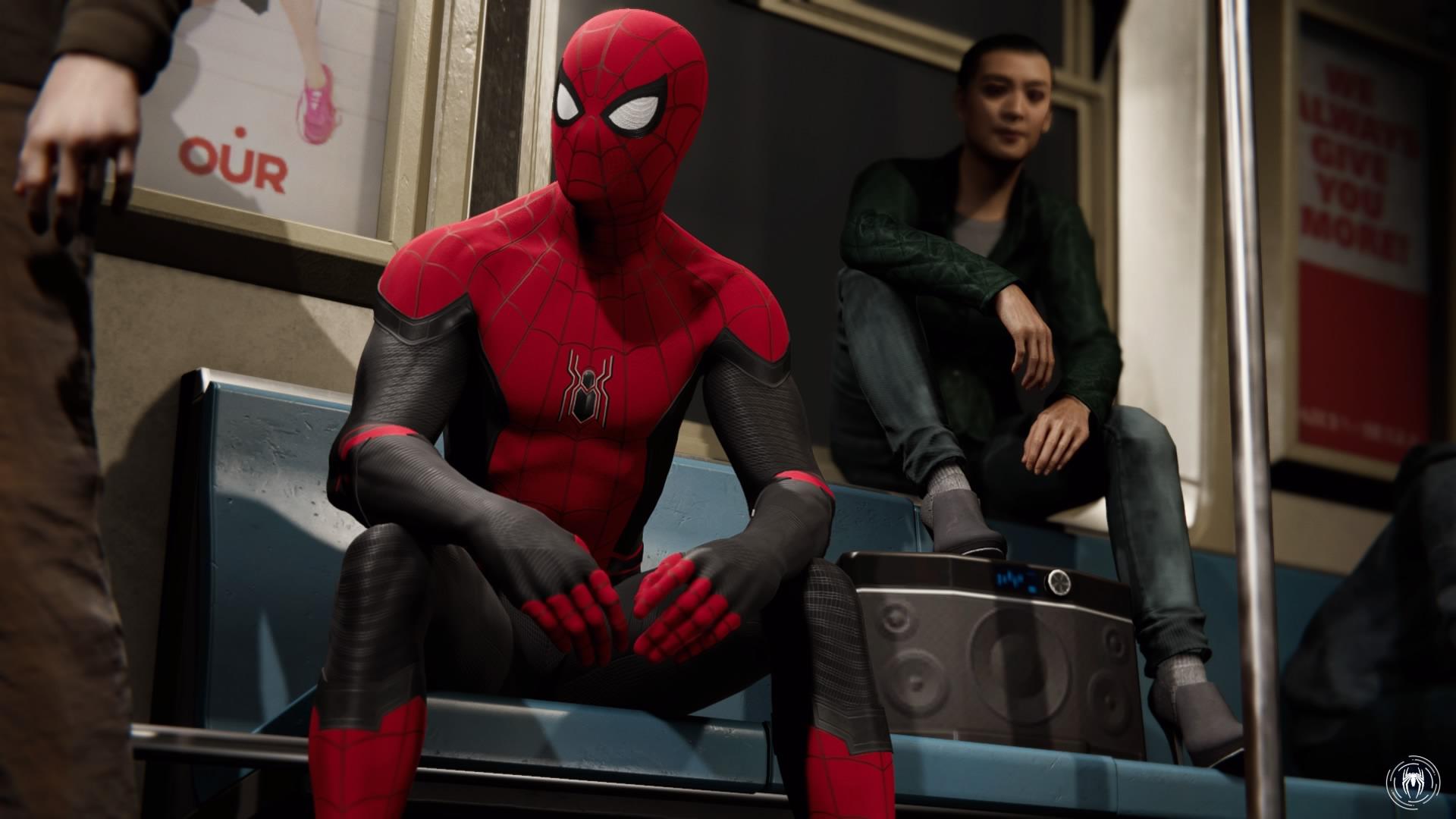 地下鉄に乗ってファストトラベルするスパイダーマン