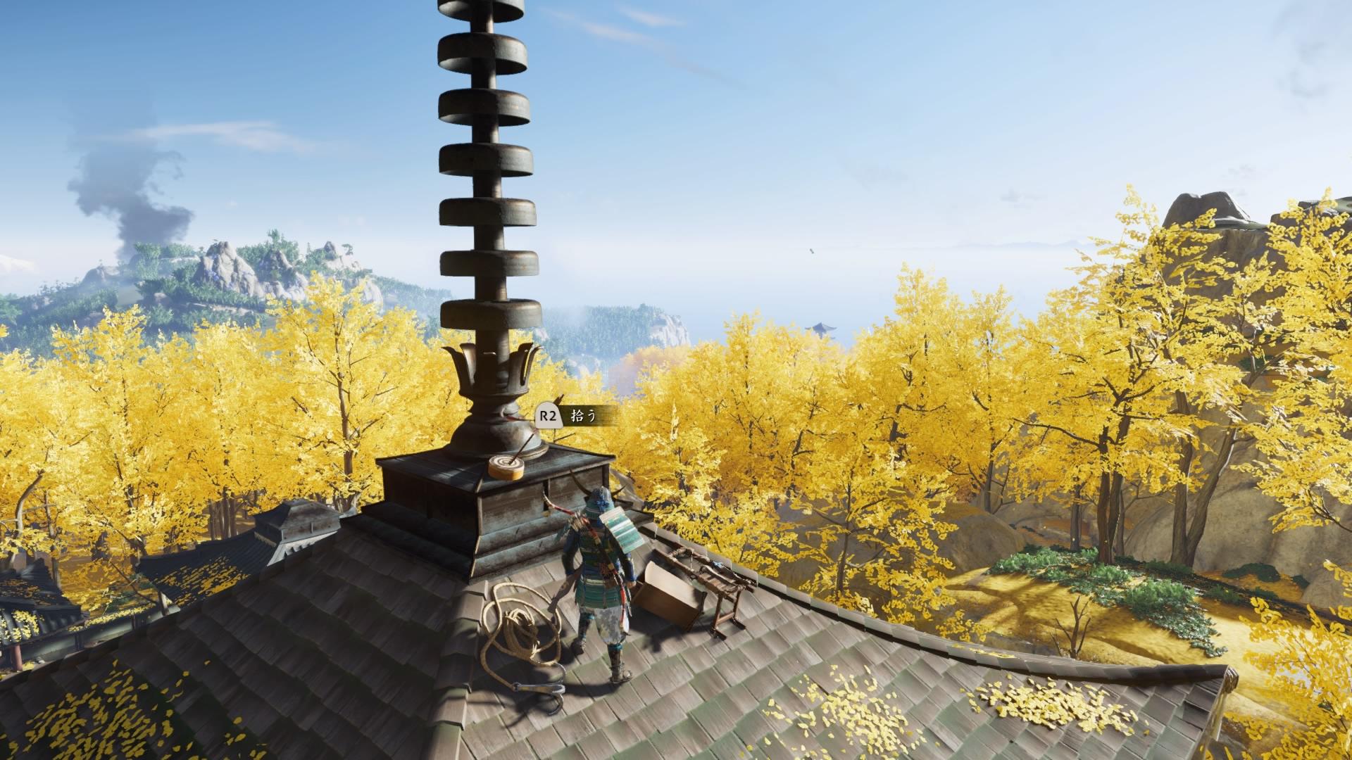 鉤縄を使って登れる五重塔の屋上